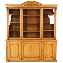 Antique Oak Bookcase, Victorian Carved Oak Display Cabinet, Scotland 1880, B1658
