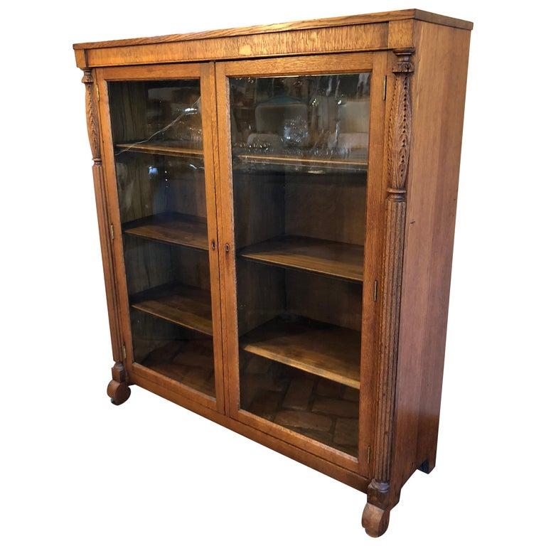 Antique Oak Bookcase With Original Keys For Sale At 1stdibs