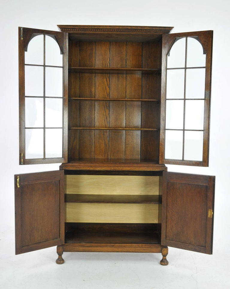 Scottish Antique Oak Bookcase, Display Cabinet, Golden Oak, Scotland, 1910,  B1001 - Antique Oak Bookcase, Display Cabinet, Golden Oak, Scotland, 1910