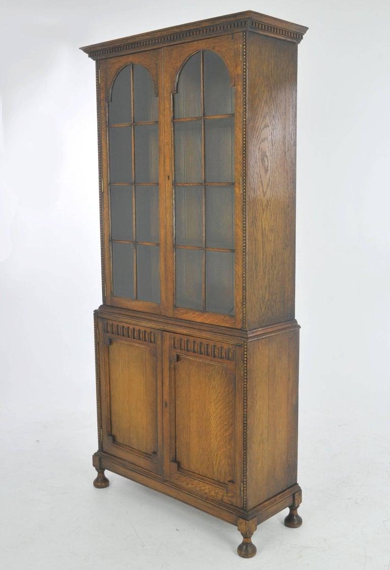 Antique Oak Bookcase, Display Cabinet, Golden Oak, Scotland, 1910, B1001 For - Antique Oak Bookcase, Display Cabinet, Golden Oak, Scotland, 1910