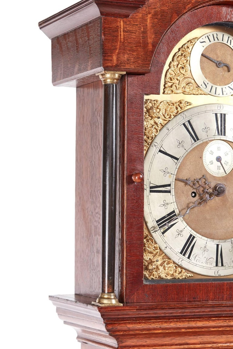 Antique Oak Brass Face 8 Day Grandfather Clock In Excellent Condition For Sale In Stutton, GB