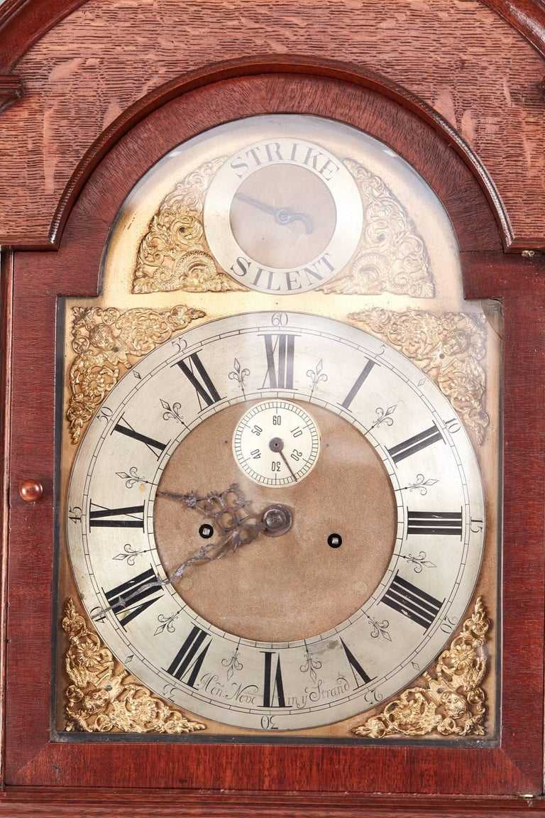 Antique Oak Brass Face 8 Day Grandfather Clock For Sale 1