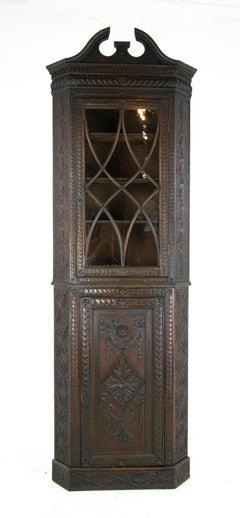 Antique Oak Cabinet, Heavily Carved Display Corner Cabinet, Scotland 1870, B1420