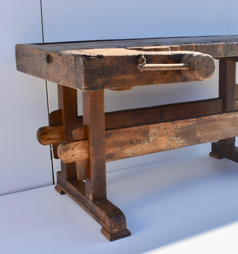 Industrial Antique Oak Carpenters and Joiners Workbench For Sale