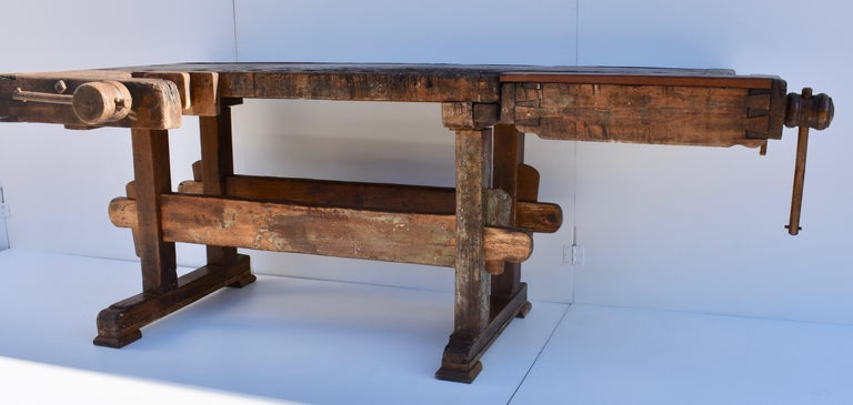 Hungarian Antique Oak Carpenters and Joiners Workbench For Sale