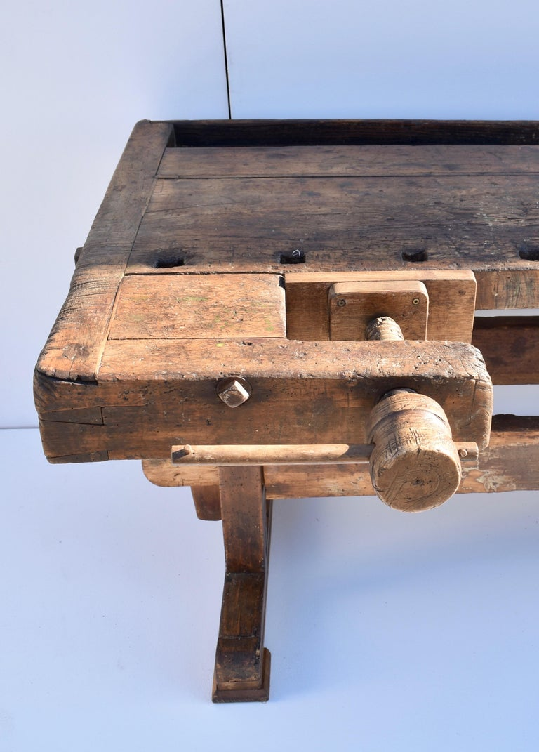 Polished Antique Oak Carpenters and Joiners Workbench For Sale