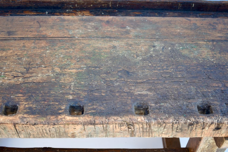 20th Century Antique Oak Carpenters and Joiners Workbench For Sale