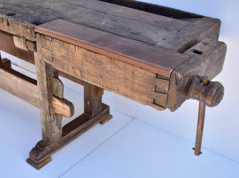 Antique Oak Carpenters and Joiners Workbench For Sale 1