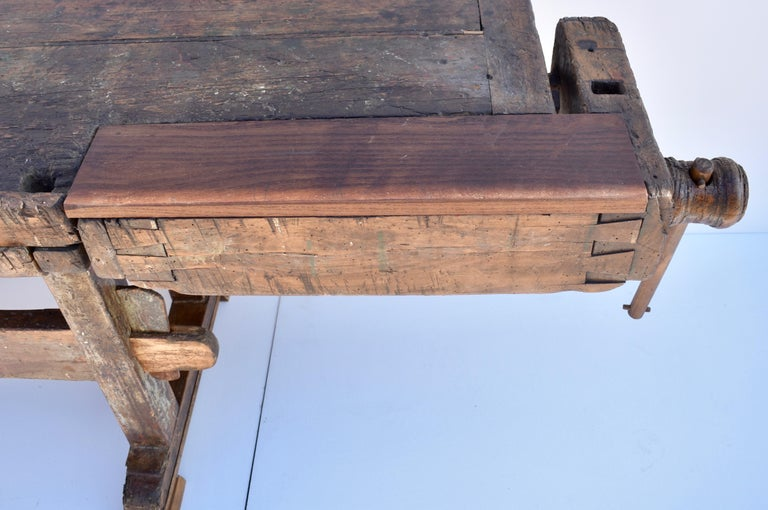 Antique Oak Carpenters and Joiners Workbench For Sale 2