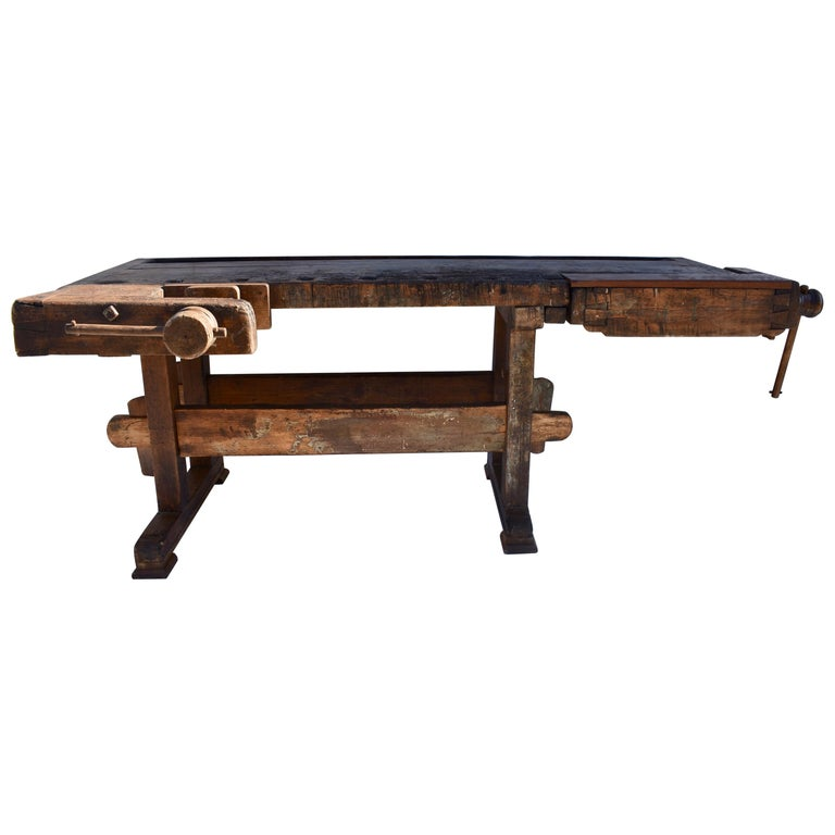 Antique Oak Carpenters and Joiners Workbench For Sale