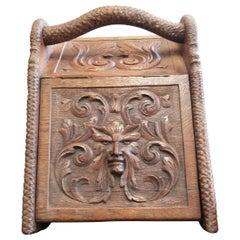 Antique Oak Carved Coal Scuttle