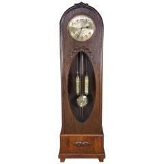 Antique Oak Carved Tall Case Kieninger German Art Deco Grandfather Clock