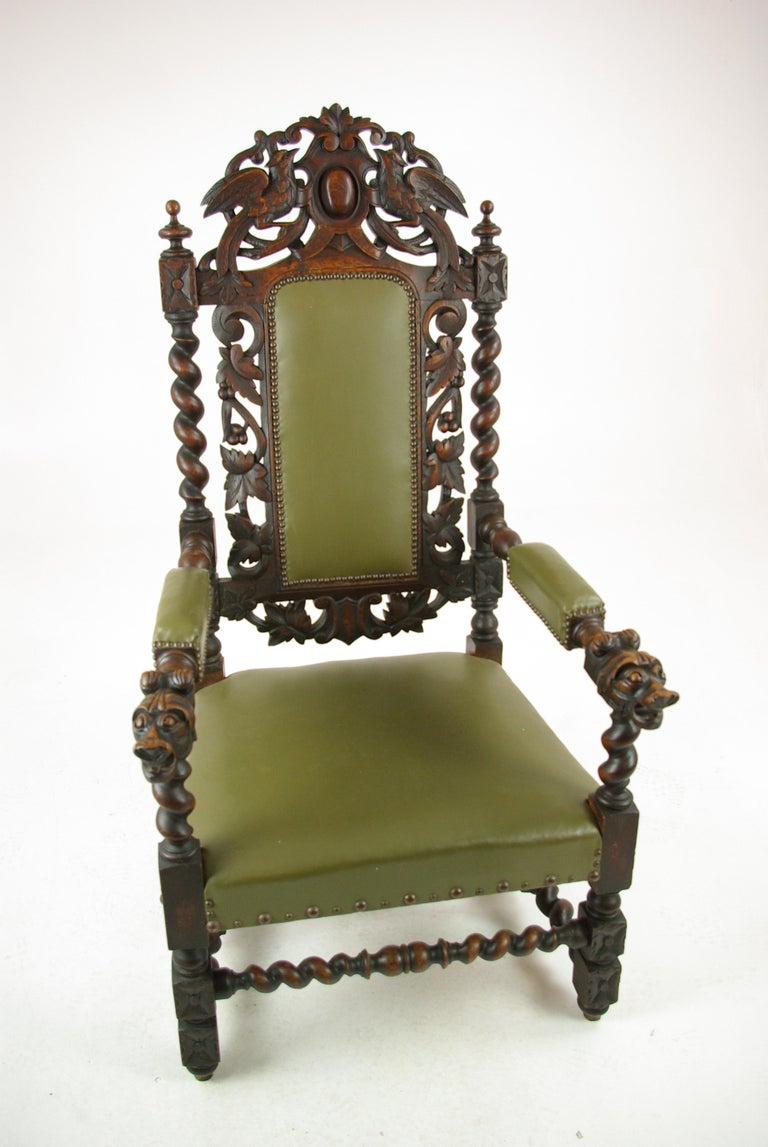 Antique oak chair, Victorian heavily carved barley twist throne chair, antique armchair, Scotland 1880s  Scotland 1880s Carved oak top rail Back profusely carved Upholstered leather back with thick barley twist supports Arm rests are