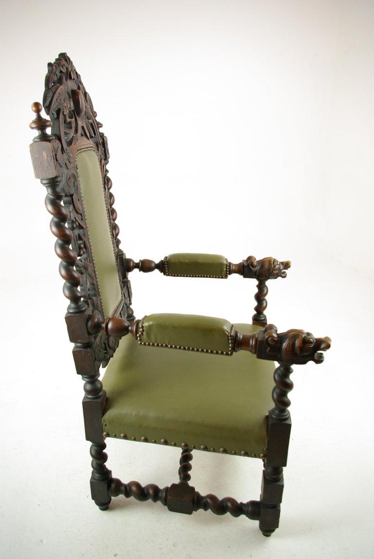 Scottish Antique Oak Chair, Victorian Carved Barley Twist Chair, Scotland 1880s, B1333 For Sale