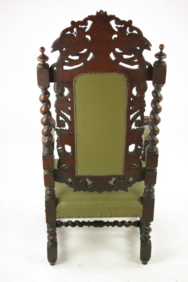 Hand-Carved Antique Oak Chair, Victorian Carved Barley Twist Chair, Scotland 1880s, B1333 For Sale