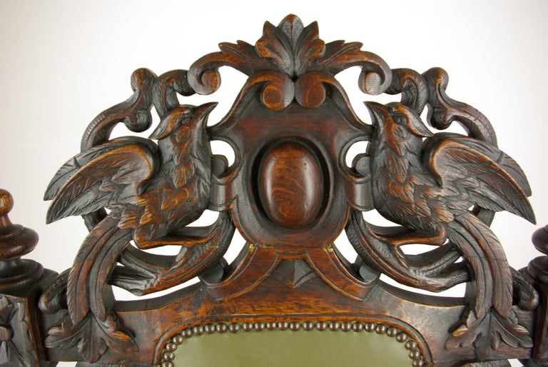 Late 19th Century Antique Oak Chair, Victorian Carved Barley Twist Chair, Scotland 1880s, B1333 For Sale