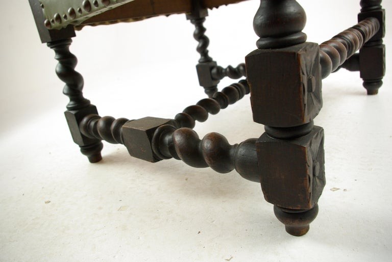 Antique Oak Chair, Victorian Carved Barley Twist Chair, Scotland 1880s, B1333 For Sale 2