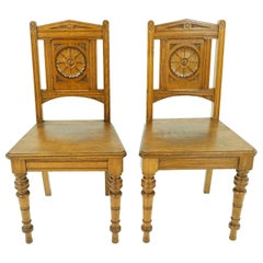 Antique Oak Chairs, Pair of Victorian Carved Hall Chairs, Scotland 1880, B1840