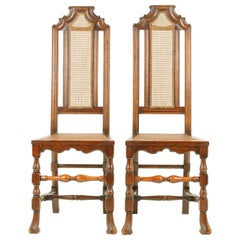 Antique Oak Chairs, Two William & Mary Style Hall Chairs, Scotland 1920, B1647