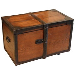 Antique Oak Chest with Heavy Iron Banding for Coffee Table