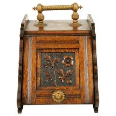 Antique Oak Coal Box, Fireplace Coal Box, Liner, Scotland 1900, B2390