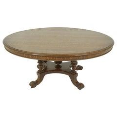 Antique Oak Coffee Table, Victorian Oval Center Table, Scotland 1880, B1951
