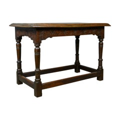 Antique Oak Console Table, English, Jacobean Revival, Refectory