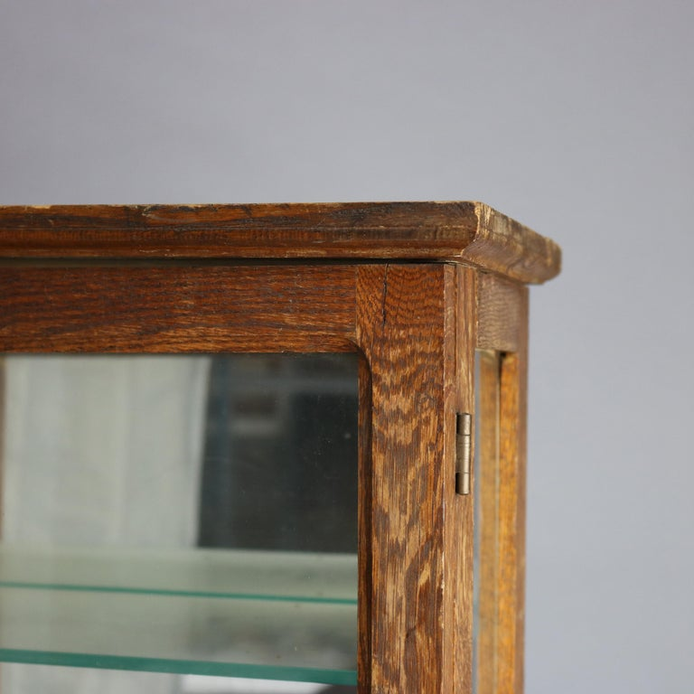 Antique Oak Country Store Mirrored Display Cabinet, circa 1900 For Sale 2