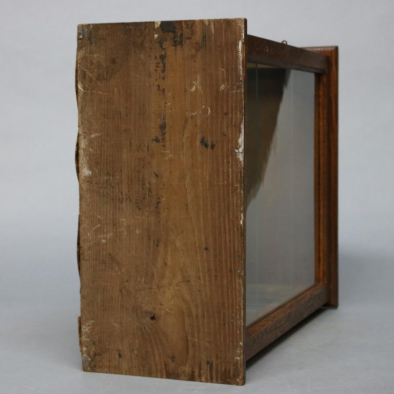 Antique Oak Country Store Mirrored Display Cabinet, circa 1900 For Sale 7