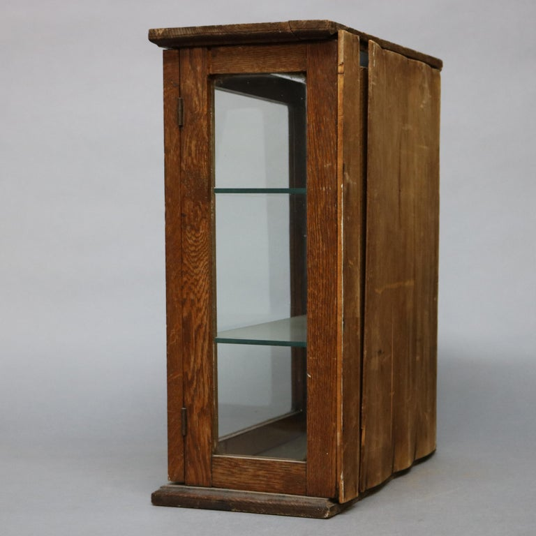 Primitive Antique Oak Country Store Mirrored Display Cabinet, circa 1900 For Sale