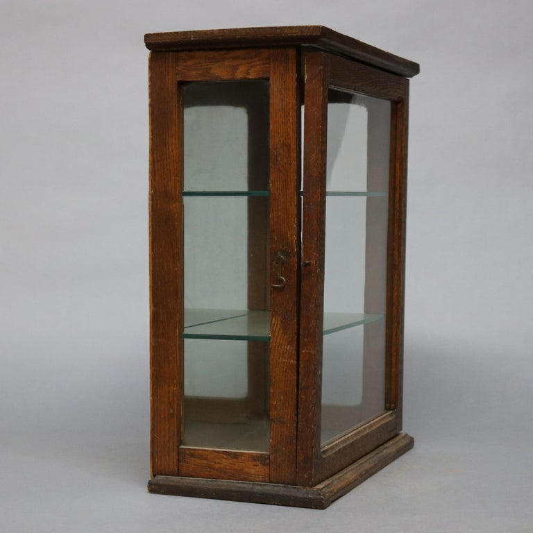 American Antique Oak Country Store Mirrored Display Cabinet, circa 1900 For Sale