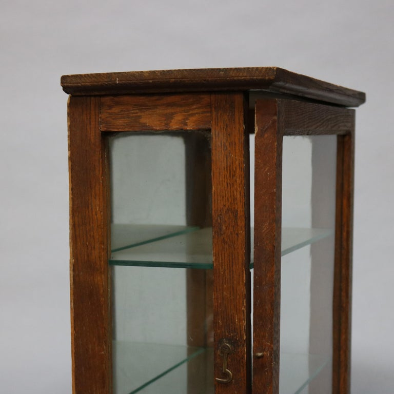20th Century Antique Oak Country Store Mirrored Display Cabinet, circa 1900 For Sale