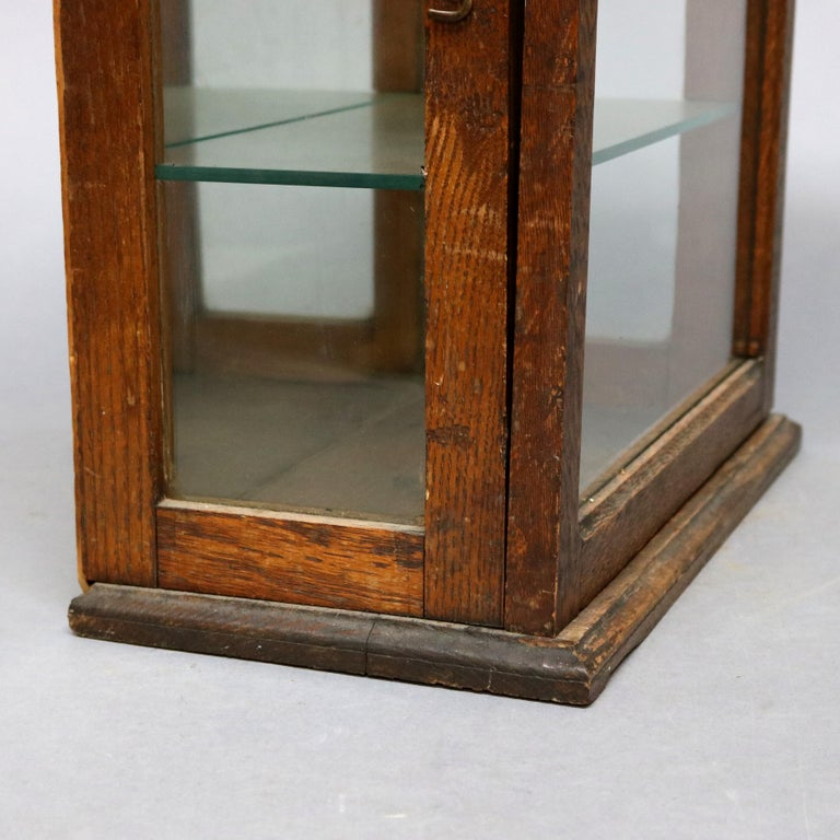 Glass Antique Oak Country Store Mirrored Display Cabinet, circa 1900 For Sale