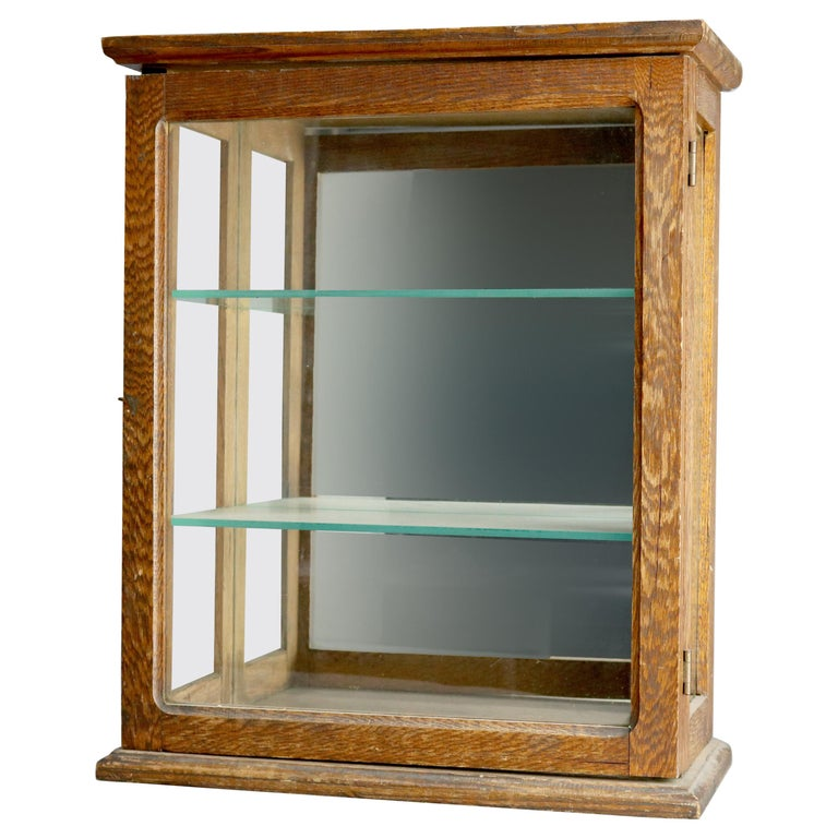 Antique Oak Country Store Mirrored Display Cabinet, circa 1900 For Sale