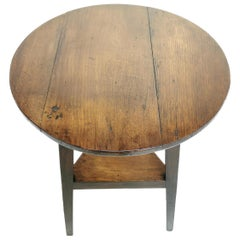 Antique Oak Cricket Table, Side Occasional Table