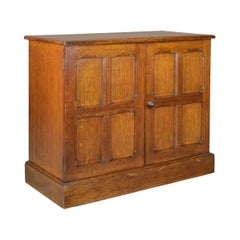 Antique Oak Cupboard, Two Door, English, Panelled, Low Cabinet Edwardian