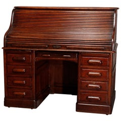 Antique Oak Derby School Raised Panel S-Roll Top Desk, Circa 1900