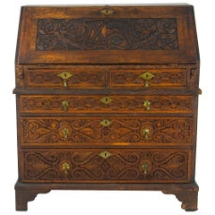 Antique Oak Desk, 18th Century Carved Oak Slant Front Desk, Scotland 1780, B1446