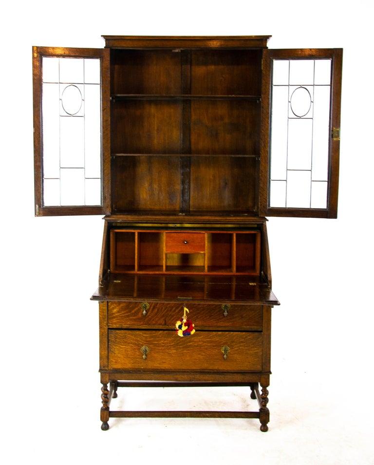Awe Inspiring Antique Oak Desk Antique Secretary Desk With Bookcase Top Scotland 1920 B1450 Download Free Architecture Designs Embacsunscenecom