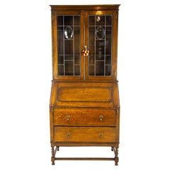 Antique Oak Desk, Antique Secretary Desk with Bookcase Top, Scotland 1920, B1450