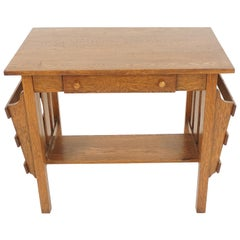 Antique Oak Desk, Arts & Crafts Mission, Tiger Oak Desk, American, 1920