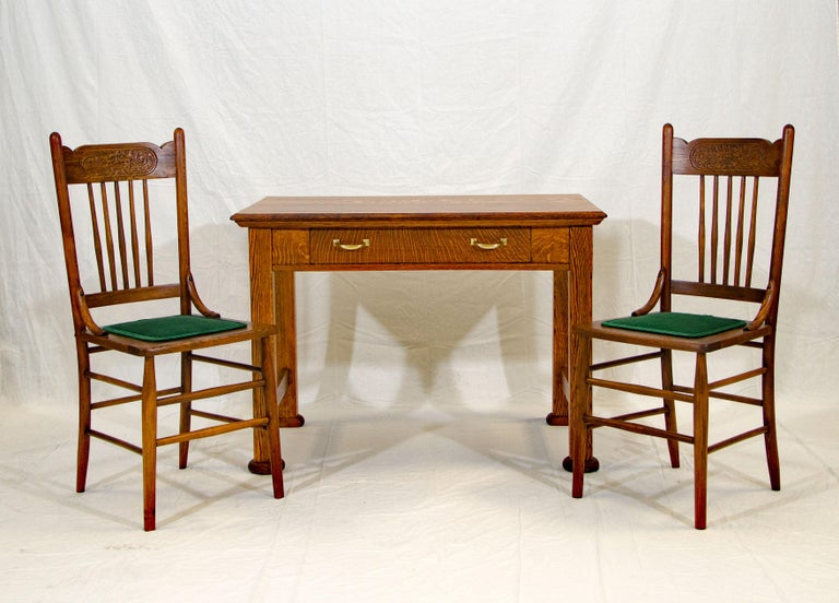 Victorian Antique Oak Desk, Breakfast or Library Table, and Two Chairs For Sale