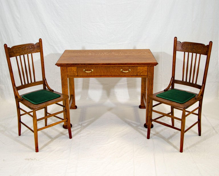 American Antique Oak Desk, Breakfast or Library Table, and Two Chairs For Sale