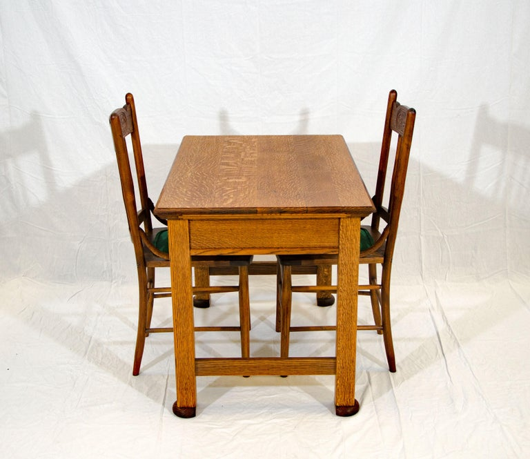 Antique Oak Desk, Breakfast or Library Table, and Two Chairs In Good Condition For Sale In Crockett, CA