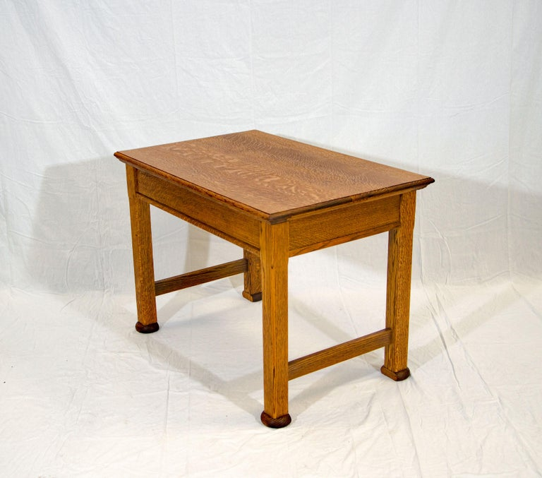 20th Century Antique Oak Desk, Breakfast or Library Table, and Two Chairs For Sale