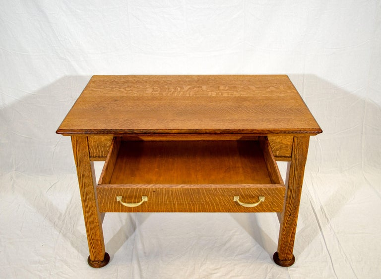 Antique Oak Desk, Breakfast or Library Table, and Two Chairs For Sale 1