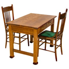 Antique Oak Desk, Breakfast or Library Table, and Two Chairs