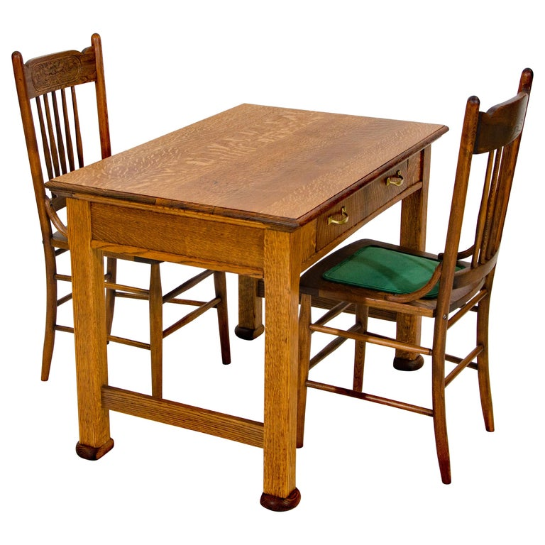 Pleasing Antique Oak Desk Breakfast Or Library Table And Two Chairs Dailytribune Chair Design For Home Dailytribuneorg