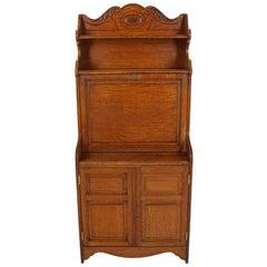 Antique Oak Desk, Carved Oak, Slant Front Desk, American 1900, B1832