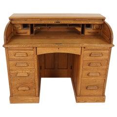 Antique Oak Desk, Double Pedestal D-End, Roll Top Desk, England 1900, B2075